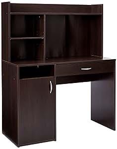 "Sauder 413084 Beginnings Desk with Hutch, L: 42.91"" x W: 19.45"" x H: 53.47"", Cinnamon Cherry finish"