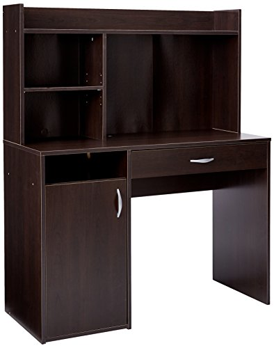Sauder Beginnings Desk with Hutch, Cinnamon Cherry - Furniture Sauder Armoire Computer Office