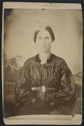 Photo: Mrs. A. J. Blue, Urbana, RFD #4, Ohio, striped dress, dark gloves, US Civil War . Size: 8x10 - Civil War Dresses For Sale