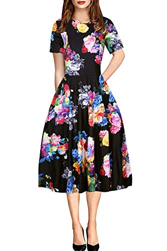 CEASIKERY Women's Vintage Round Neck Floral Casual Party Cocktail A-Line Dress