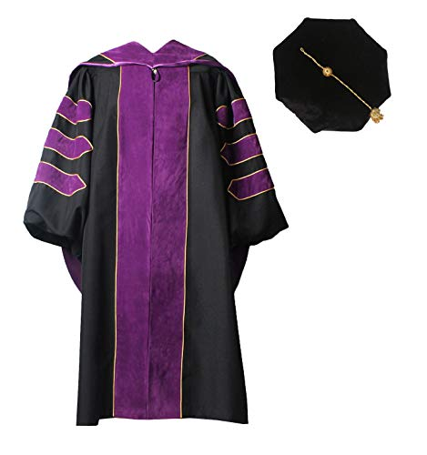 (MyGradDay Deluxe Premium Graduation Doctoral Regalia Gown,PHD Hood & 8-Side Tam Package Purple)
