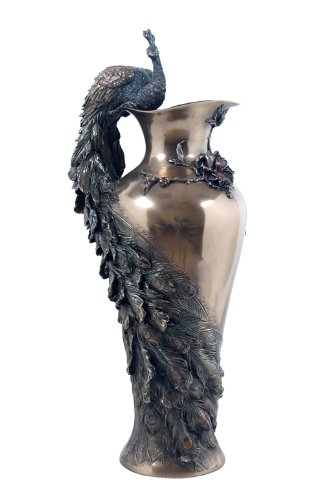 Art Nouveau Style Prunus and Peacock Vase by Unicorn Studios