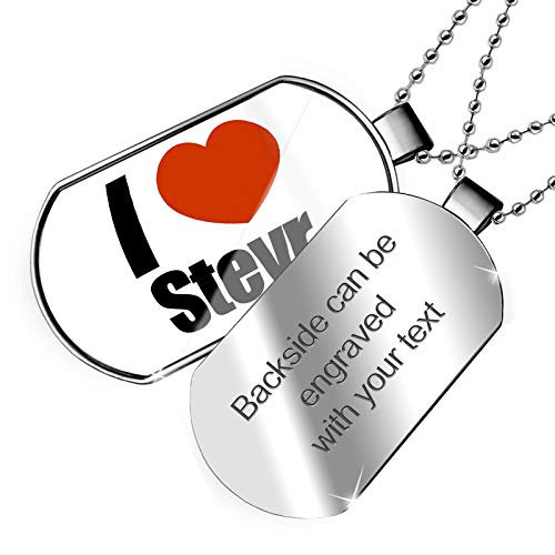 NEONBLOND Personalized Name Engraved I Love Steyr Region: Upper Austria, Austria Dogtag - Steyr Type
