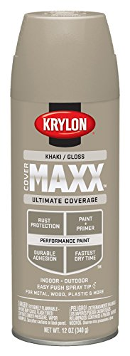 12 Spray Ounce Gloss (Krylon K09127000 COVERMAXX Spray Paint, Gloss Khaki, 12 Ounce)