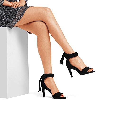 fine hauts été noire taille talons Toe NAN Exposed dentelle UK3 bout pour travail EU35 partie Noir sexy CN34 mariage hauts réglable talons femmes talon pointu Couleur Noir Chaussures de CSzwtq1xzP
