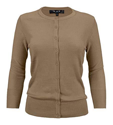 YEMAK Women's 3/4 Sleeve Crewneck Button Down Knit Cardigan Sweater CO079-Mocha-S