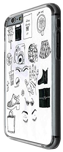 1188 - Girly Needs Hats Shopping Coffee Musix Hair Style Dress Makeup Design For iphone 6 Plus / iphone 6 Plus S 5.5'' Fashion Trend CASE Back COVER Plastic&Thin Metal -Clear