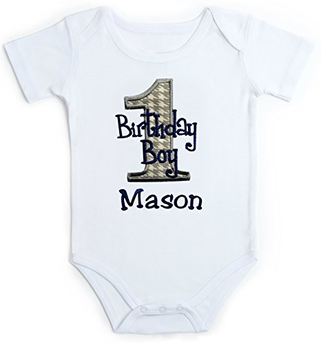 Embroidered First Birthday Year 1 Onesie Bodysuit For Baby Boys With Your Custom Name (Short Sleeve 18 Months, Gray (Houndstooth Outfit)