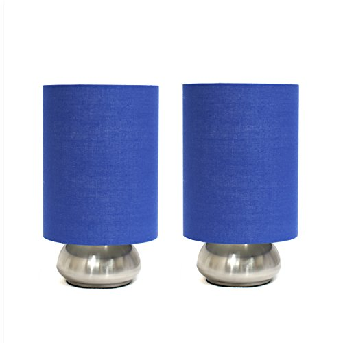 Mini Touch Lamp w Brushed Steel Base and Blue Shade - Set of