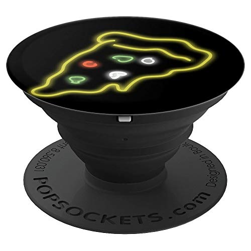 Retro 1980s 80s Pizza Lover Neon Pizza Gift - PopSockets Grip and Stand for Phones and ()