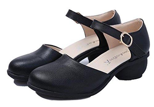 Abby 6823 Mujeres Spring Fresh Cerrado Dedo Del Pie Redondo Mary Jane Transpirable Conciso Bloque Tacón Modern Square Dance Sneakers Negro