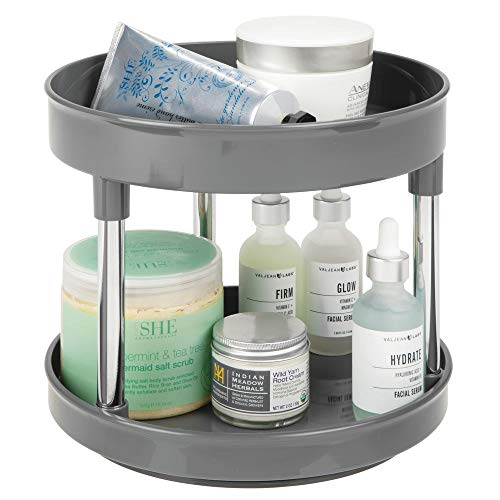 (mDesign Plastic Spinning 2 Level Lazy Susan Turntable Storage Tray - Rotating Organizer for Bathroom Vanity Counter Tops, Under Sink, Closets, Dressers - 9