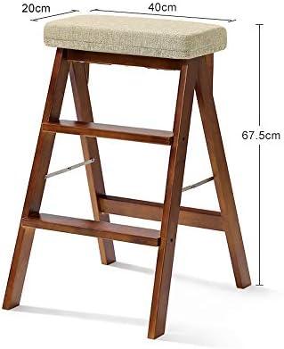 Escalera de madera Taburete Plegable Inicio Escalera de dos escalones Taburete alto Ascender de dos escalones Banco simple Escalera Silla Cocina Doble uso Multifunción De múltiples fines (Color : B) :