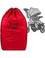 Rode reistas voor kinderwagen grootte 100x60x40 cm transporttas buggy draagtas opvouwbaar als rugzak perfect op het vliegveld bij het inchekken van station autoritten [085]