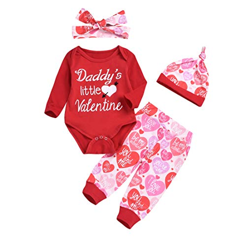 Baby Valentines Day Outfit Girl Daddy's Little Valentines Romper Heart Pants Headband Hat Newborn Girl Clothes 4Pcs/Set (Red, 3-9M) -