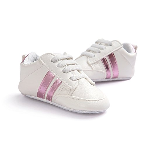 Fire Frog Baby Sports Sneaker - Zapatos primeros pasos de Piel Sintética para niño Pink Strip