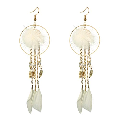 Hot New Fashion Geometric Lengthy Tassel Feather Drop Earring Very Leaves Hairball Dangle Earrings for Ladies Earring Jewelry (Craftsman Chandelier Collection)