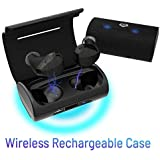 Cobble Pro True Wireless Earbuds 5.0 Headset [2018 Upgraded Version] BT 5.0 In-Ear Stereo Headphones with Charging Case support Wireless Charge, One Step Auto Pairing, Built-in Mic, 30H Playtime Black