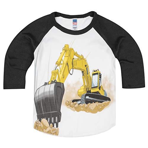 Truck Eco Excavator - Shirts That Go Little Boys' Yellow Excavator Raglan T-Shirt 2 Black Sleeves
