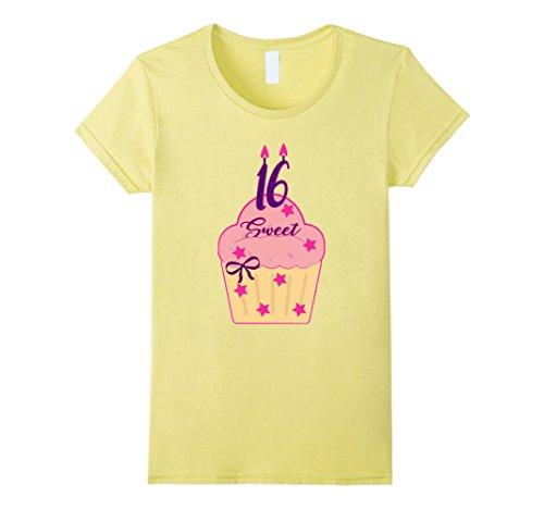 Womens Sweet 16, 16th Birthday Cupcake Tshirt Cute Tee Large Lemon