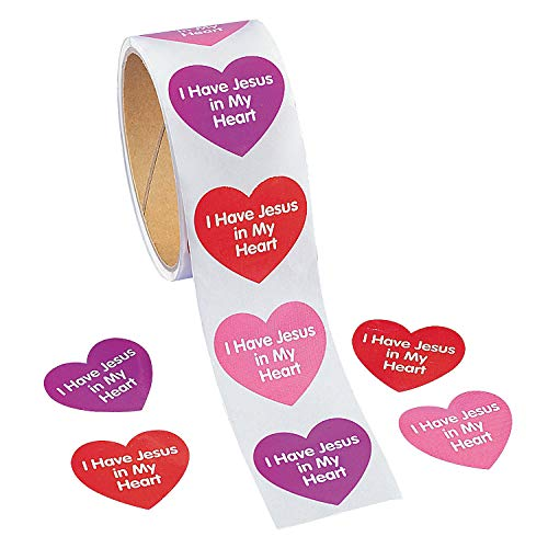 Fun Express - Jesus in My Heart Stickers (100ct) for Valentine's Day - Stationery - Stickers - Stickers - Roll - Valentine's Day - 1 Piece