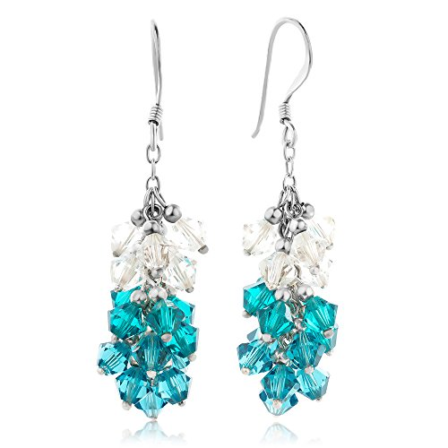 925 Sterling Silver Gradient Blue Zircon Faceted Crystal Beads Dangle Hook Earrings 1.5