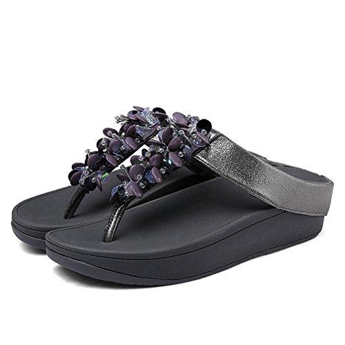 Gambe estiva Fondo Zeppe Grey di sandali leader paillettes farfalla Donna spesso fiore pantofole pantofole di Stagione Beauty sabbia sottile spiaggia lanciare f8B6xwEB