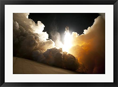 STS-130 Exhaust Cloud Engulfs Launch Pad 39A Framed Art Print Wall Picture, Black Frame, 32 x 24 ()