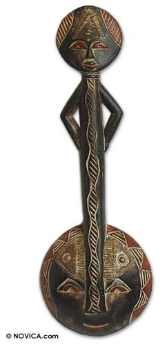NOVICA Decorative Large Sese Wood and Brass Mask, Black, 'Progress'
