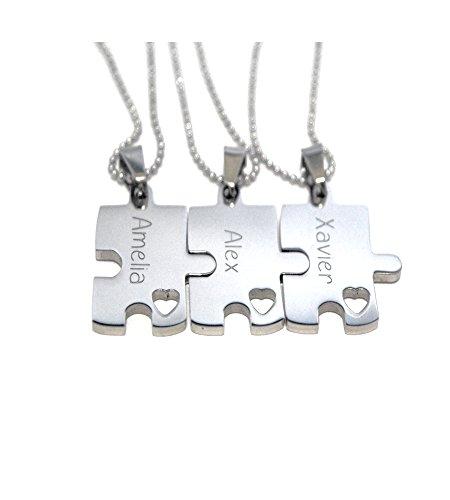 Puzzle Piece Necklace - Engraved Puzzle - Bridesmaid Gift - Set Of Three Custom (Puzzle Piece Necklace Set)