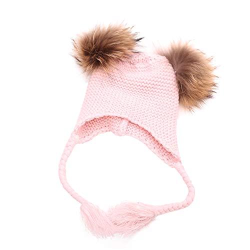 (Swyss Children Winter Hat Crochet Beanie Earflaps Knit Infant Hats Winter Warm Cap Kids Fashion Beanie Fuzzy Peruvian Hat0Pink)