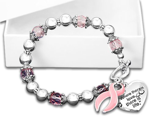 Fundraising For A Cause Pink Ribbon Awareness Bracelet in a Gift Box - Where There is Love (Retail) -