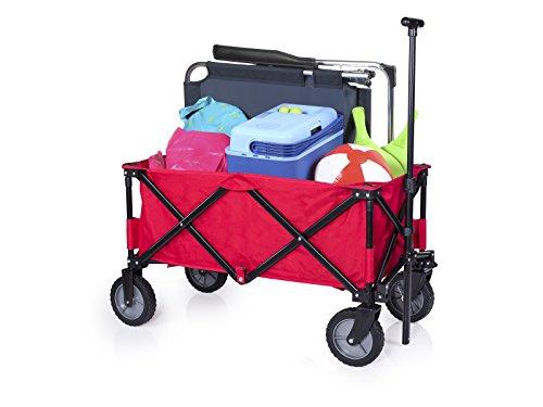 Faltbarer Bollerwagen, bis zu 70Kg Tragkraft ca. 90,5x48x56cm, Handwagen inkl. Aufbewahrungstasche optimal als Getränkewagen oder als Transportmittel für Ausflüge Campart HC-0911