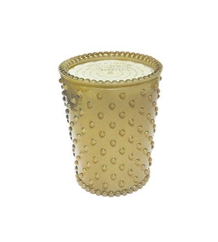 K. Hall Designs No-7 Sea Salt Caramel Hobnail Glass Candle, 16-Ounce