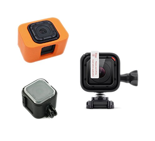 Orange Floaty and Lens Cover Bundle, Includes Floating Buoy + Waterproof Lens Film Polyethylene Terephthalate Screen Protectors (6pcs) + Protective Transparent Lens Cap Cover for GoPro Hero 4 Session