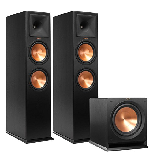 (1 Pair) Klipsch Reference Premiere 280 Floorstanding Speaker with Dual 8 inch Cerametallic Cone Woofers (Ebony) + Klipsch R-112SW 12'' Reference Series Powered Subwoofer Bundle by Klipsch