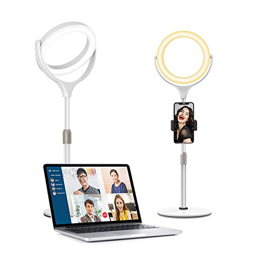Evershop Video Conference Lighting, 8″ Desktop Ring Light with Stand Laptop Computer Zoom Meeting Lighting, Webcam Light 3 Modes&10 Level Dimmable for iPhone/Camera/Photo Lighting/Office Video Calls…