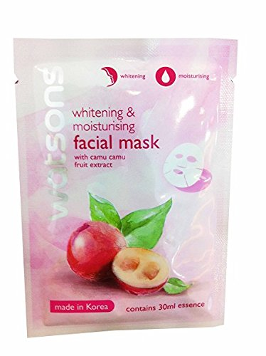 4 Mask Sheets of Watsons Whitening & Moisturising Facial Mask with Camu Camu Fruit Extract. Made in Korea. (30 Ml Essence/ sheet)