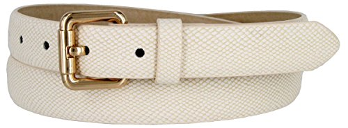 Skinny Women's Snakeskin Embossed Leather Casual Dress Fashion Belt (Beige, Large) (Leather Snakeskin Embossed)