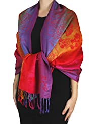 Peach Couture Rainbow Silky Tropical Hibiscus Floral Wrap Shawl Scarf Red Orange
