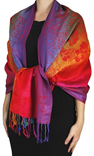 Peach Couture Rainbow Silky Tropical Hibiscus Floral Pashmina Wrap Shawl Scarf Red Orange