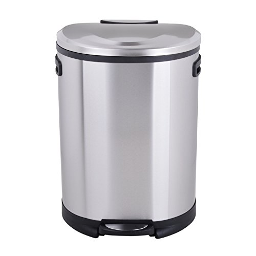 Utopia Alley Cress Contour Curved Stainless Steel Trash Can, 50 L ()