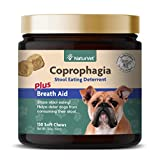 NaturVet Coprophagia Stool Eating Deterrent Plus Breath Aid for Dogs, 130 ct Soft Chews, Made in USA