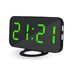 UBMSA Electric Alarm Clock, 6.5 Large Number Digital Alarm Clock Mirror Led Table Clock with Adjustable Brightness, 2 USB Charging Ports,Big SNOOZE Button for Bedroom Living Room Decor (Green)