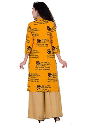 BrightJet Printed Yellow Wooden Button Cotton Women Fashion FrontSlit Kurti Straight fit Kurta Top Tunic Party Dress (XL) by BrightJet (Image #2)