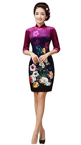 EXCELLANYARD Velvet Chinese Qipao Cheongsam Dresses For Women 4 Rose Red