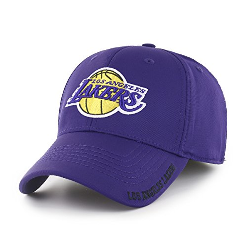 OTS NBA Los Angeles Lakers Adult Start Line Center Stretch Fit Hat, Large/X-Large, Purple
