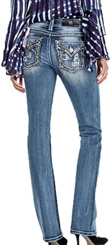 Miss Me Women's Light Wash Denim Jean with Saddle Stitch