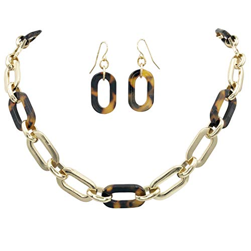 Gypsy Jewels Speckled Brown Tortoise Shell Resin Beads Statement Necklace & Dangle Earrings Set (Chunky Chain Link) ()