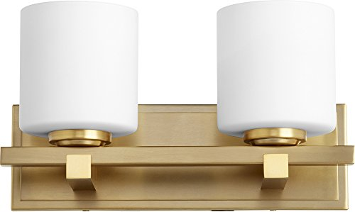 Quorum 5669-2-80 Wall Sconce, 2-Light, 200 Total Watts, Aged Brass